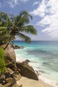 Seychelles, La Digue Island, View of the Anse Patate beach - stock photo