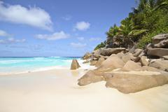 Seychelles, View of the Petit Anse beach at La DIgue Island - stock photo