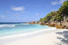 Stock Photo of Seychelles, View of the Anse Cocos beach at La Digue Island
