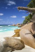 Seychelles, View of the Anse Cocos beach at La Digue Island - stock photo