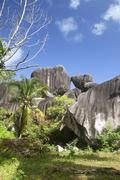 Seychelles, Granite rock formation at La Digue Island - stock photo