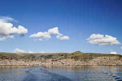 South America, Peru, Lake Titicaca, Cityscape Puno Stock Photos