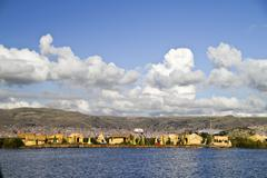 South America, Peru, Uros people living on the floating islands of the Lake Stock Photos