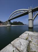 Spain, Galicia, Province of A Coruna, Bridge over Ría de Betanzos river - stock photo