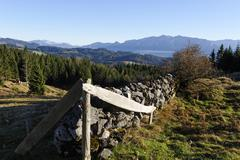 Austria, Tyrol, Inn Valley, Stone wall at Bubenau Alm with Kranzhorn and Zahmer Stock Photos