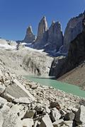 Stock Photo of glacial lake and peaks of the three torres, torres del paine national park, p