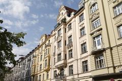 House fronts in hans-sachs-strasse, isarvorstadt, glockenbachviertel, munich, Stock Photos