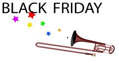 A Symphonic Trombone Blowing Black Friday Flag - stock illustration