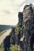 Germany, Saxony, Elbe Sandstone Mountains, view from Bastei Bridge at Elbe River - stock photo