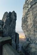 Germany, Saxony, Elbe Sandstone Mountains, view from Bastei Bridge to Rathen - stock photo