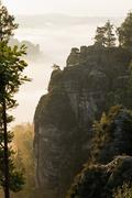 Stock Photo of Germany, Saxony, morning mist at Elbe Sandstone Mountains