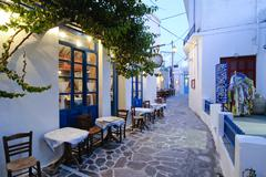Alleyway in plaka, milos, cyclades, greece, europe Stock Photos