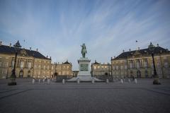 Denmark, Copenhagen, Amalienborg Castle, Equestrian statue of Frederick V of Stock Photos