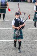 Ullapool, scotland - july 17: bagpipes' parade at local highland games on jul Stock Photos