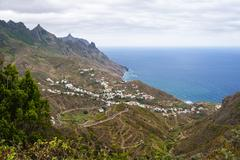 Spain, Canary Islands, Tenerife, Veew of Taganana on the north coast Stock Photos