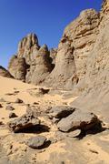 Rock formation in el ghessour, tassili du hoggar, wilaya tamanrasset, algeria Stock Photos