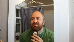 Shaving The Old Beard. Time lapse Stock Footage
