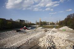 Stock Photo of renaturation of the isar river, european patent organisation and deutsches mu