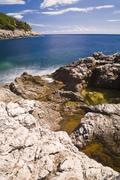 coastal landscape of mljet island, time exposure, dubrovnik-neretva, dalmatia - stock photo