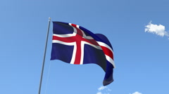 The flag of Iceland Waving on the Wind. Stock Footage