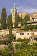 Spain, Balearic Islands, Mallorca, Valldemossa, S'Arxiduc, Church spire - stock photo