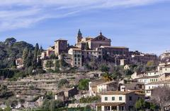 Spain, Balearic Islands, Mallorca, Valldemossa, S'Arxiduc, View to village with Stock Photos