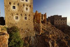 old stone house in the mountain-top village of shaharah, yemen, arabia, arab  - stock photo