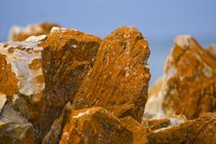 oxydated iron ore rocks, south africa - stock photo
