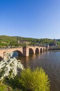 Germany, Baden-Wuerttemberg, Heidelberg, Old town, Old bridge, Church of the - stock photo