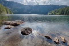 Glacial black lake surrounded by the forest Stock Photos