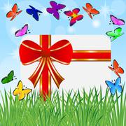 Greeting-card with a red bow and bright butterflies Stock Illustration