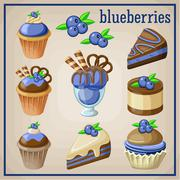 Stock Illustration of set of sweets with blueberries.