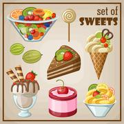 Stock Illustration of set of sweets.