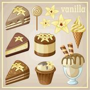 set of sweets vanilla. - stock illustration