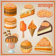 Set of sweets with an orange Stock Illustration