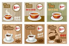 Set of coffee and tea menu card. Stock Illustration