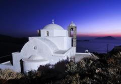 domed church pangia thalassitra, church on milos with a view over the sea aft - stock photo