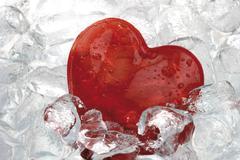 heart on ice - stock photo