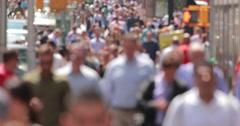 Crowd of anonymous people walking on city street sidewalk 4k Stock Footage