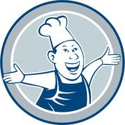 chef cook happy arms out circle cartoon - stock illustration