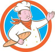 Chef cook holding baguette circle cartoon Stock Illustration