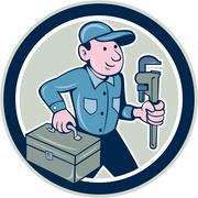 Plumber toolbox monkey wrench circle cartoon Stock Illustration
