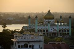 mosque and sikh temple in kuching, sarawak, borneo, malaysia, southeast asia - stock photo