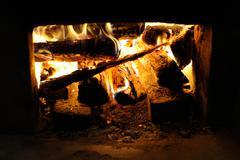 furnace of korean traditional heating system ondol. - stock photo