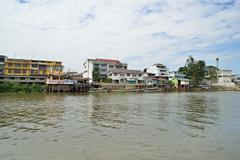 ferry in ayutthaya - stock photo