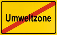 sign, end of city limits, as symbol for the end of low emission zones or umwe - stock photo