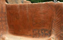 Stock Photo of traditional mural wall paintings created by gurunsi women on their houses in