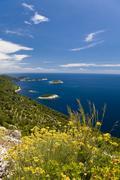 group of islands in front of mljet island, dubrovnik-neretva, dalmatia, croat - stock photo