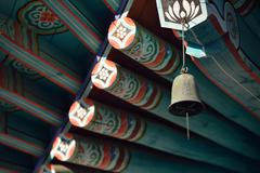 Wind chime of korean traditional temple Stock Photos