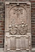 epitaph on outside wall of frauenkirche cathedral, munich, bavaria, germany,  - stock photo